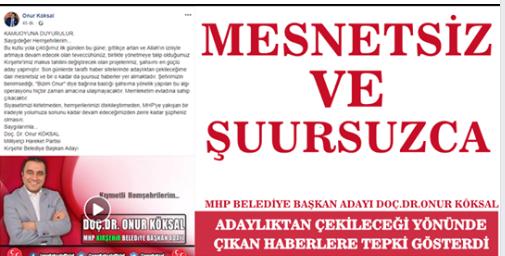MHP Kırşehir Belediye Başkan Adayı Onur Köksal; Adaylıktan Çekilmiyorum, Çekilmeyeceğim