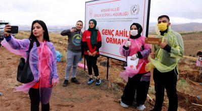 Gençlerin 81 ilden getirdiği topraklarla Kırşehir'de fidan dikildi